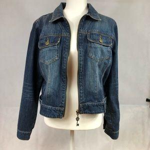Cabi zip indigo blue jean jacket
